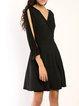 Across The Board Black Slit Surplice Neck Dress