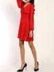 Across The Board Red Slit Surplice Neck Dress