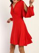 Across The Board Red Slit Surplice Neck Dress