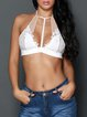 Playful And Sassy White Halter Crop Top