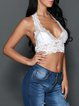 Hollow Out Lace White Sexy Halter Crop Top