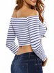 Awesome Piece Stripes Off Shoulder Crop Top