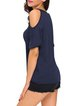 In A Trance Navy Blue Solid Cold Shoulder Top
