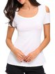 Versatile Styles White Crocheted Cold Shoulder Top