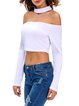 Going Places White Solid Choker Neck Crop Top