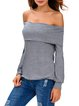 Hug Your Curve Gray Fold-over Off Shoulder Top