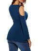 Sensuously Shaped Navy Blue Solid Cold Shoulder Top