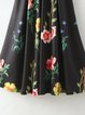 Aerial View Black Floral A-line Elegant Dress
