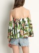 Tropical Climate Bell Sleeve Off Shoulder Top