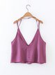 Common Ground Fuchsia Solid V Neck Buttoned Cami