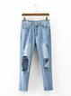Take It Easy Blue Cutout Denim Jeans