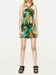 Hopeful Heart Green Printed Cross Neck Dress