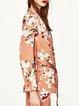 Resplendent Orange Floral-print Lapel Blazer