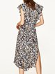 Best Choice Printed Frill Sleeve Dress