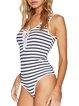 Hot Girl White-black Stripes Lace Up Bodysuit
