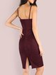 Leave it to Me Burgundy Slit Solid Dress