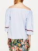 Daily TunesBlue Off Shoulder Embroidered Top