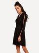 Love Comes Black Slit Shoulder Long Sleeve Dress
