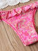 Means So Much Pink Ruffled Halter Paisley Bikini