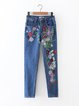 Blue Floral-embroidered Denim Casual Jean