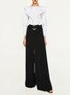 Elegant Lady Black Buckle Solid Wide Leg Pants