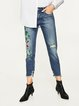Like You Now Blue Floral Ripped Denim Jeans