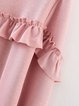 Wish for Love Pink Ruffled Solid Casual Dress