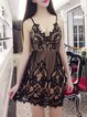 Not Lonely Black Spaghetti V Neck Lace Dress