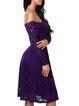 Purple Long Sleeve Guipure Elegant Lace Dress