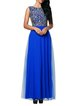 Blue Sleeveless Embroidered Tulle A-line Evening Dress