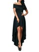 Black Off Shoulder Elegant High Low Party Dress