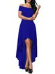 Blue High Low Off Shoulder Party Dress