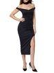 Black Slit Off Shoulder Dress with Choker