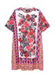 Roses Print Shift Half Sleeve Crew Neck Dress
