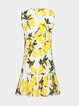 Yellow Lemon Print Sleeveless Dress