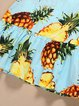 Blue Sleeveless Pineapple Print Cute Dress