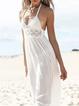 White Halter Solid Casual Paneled Maxi Dress