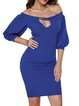 Blue Cutout Off Shoulder Elegant Party Dress