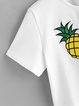 White Cute Pineapple Embroidered Crop Top