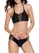 Cut-outs Halter Wireless Polyester Solid Bikini