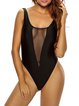 Black Mesh Inserted Plunging Solid One-piece