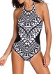 Black-white Tribal Printed Halter One-piece