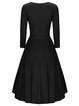 Black 3/4 Sleeve Swing Elegant Buttoned Dress