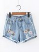 Blue Denim Ripped Embroidered Shorts