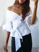 White Bow Gathered Off Shoulder Blouse