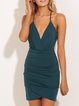 Green Ruched Spaghetti Cross Back Dress