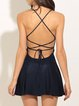 Dark Blue Folds A-line Strappy Back Dress