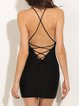 Black Lace Up Bodycon Sexy Spaghetti Dress