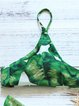 Green Straped Wireless Leaves Printed Bikini