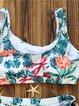 Multicolor Scoop Neckline Padded Wireless Bikini